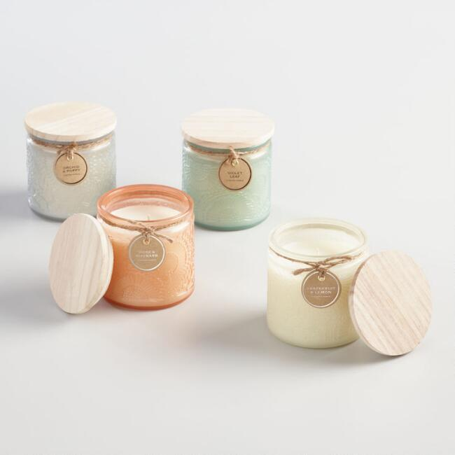 Wood Lid Milk Glass Filled Jar Candle Collection