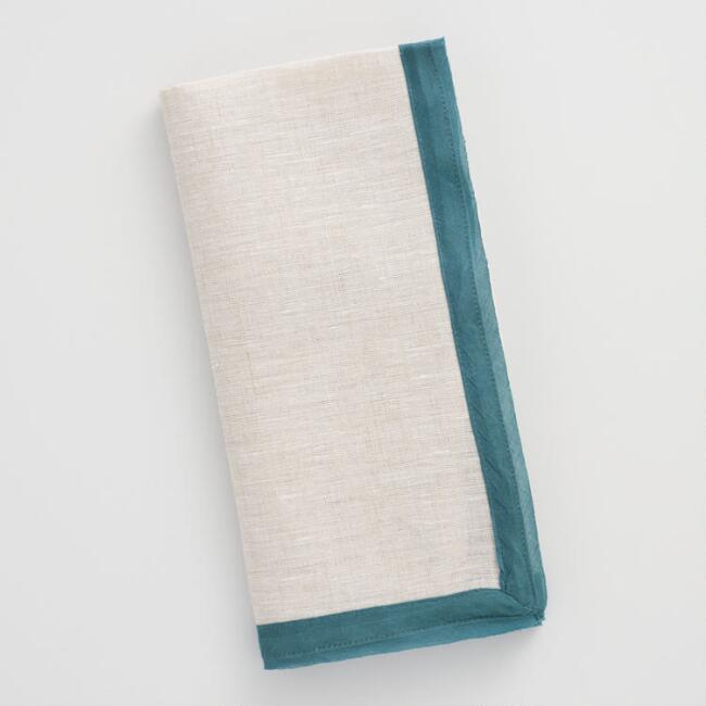 Linen Napkins with Teal Cotton Voile Trim Set of 4