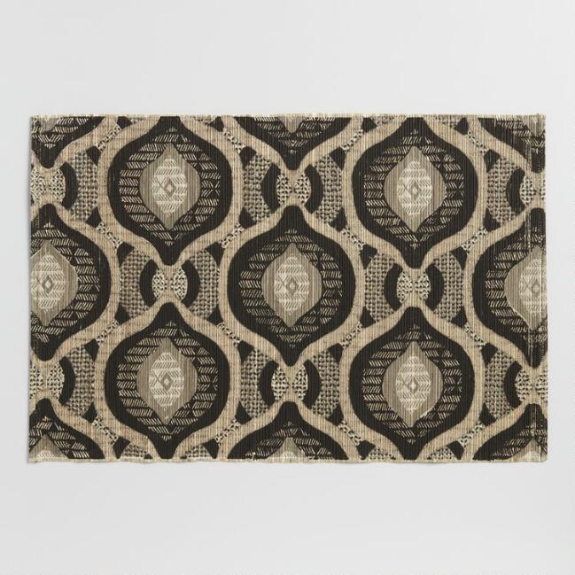 Black and Ivory Natural Fiber Ashanti Placemats Set of 4