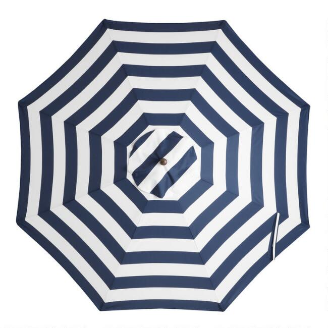 Peacoat Blue Stripe 9 Ft Outdoor Umbrella Canopy