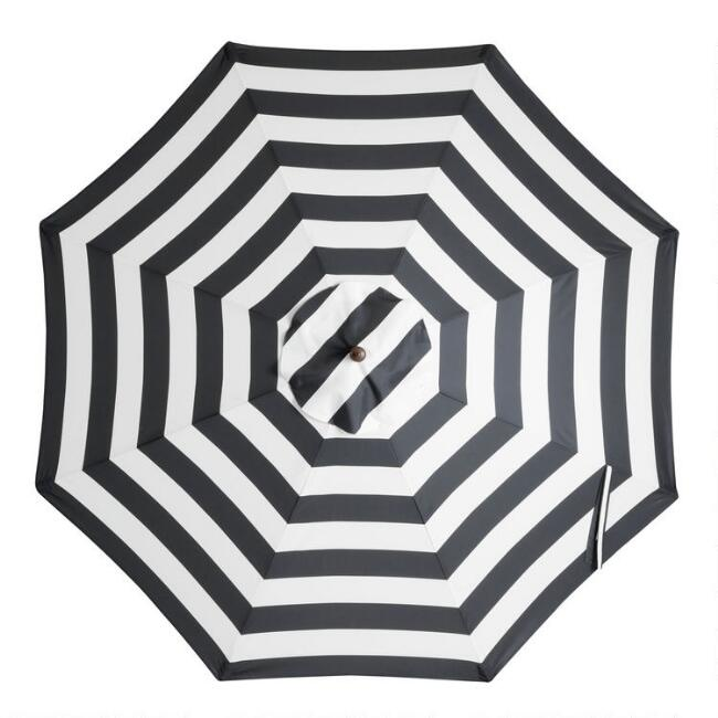 Black Stripe 9 Ft Outdoor Umbrella Canopy