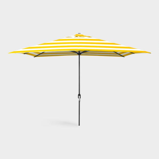 Yellow Stripe 6.5 x 10 Ft Rectangular Outdoor Umbrella