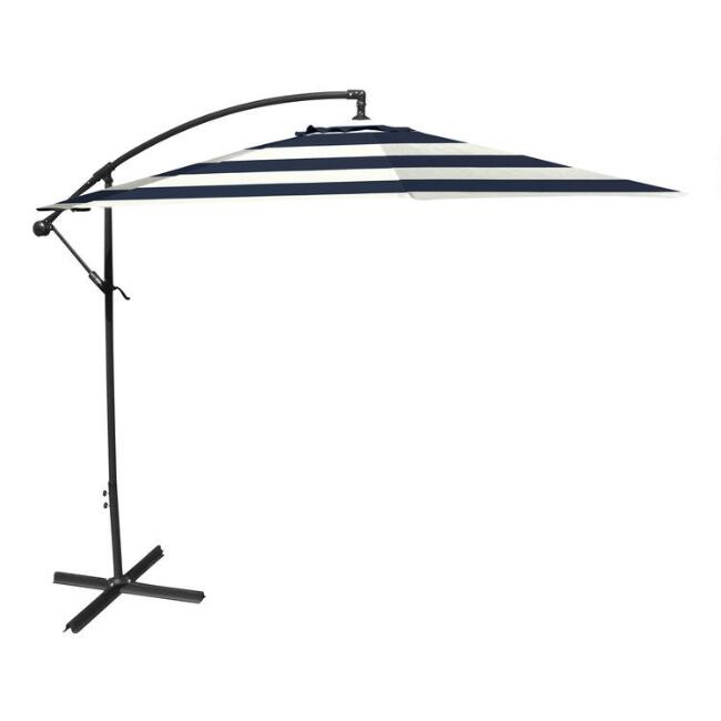 Peacoat Blue Stripe Cantilever Patio Umbrella