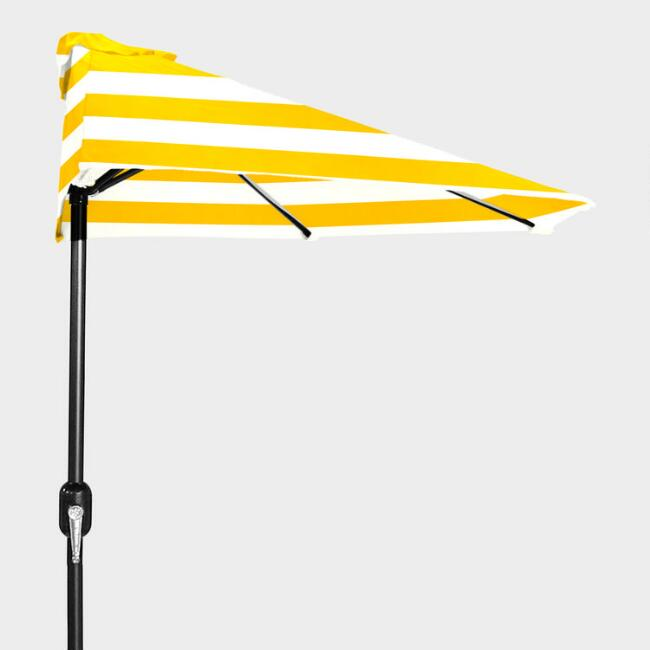 Yellow Stripe Outdoor Half Umbrella