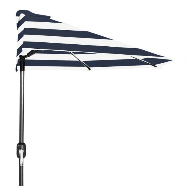 Peacoat Blue Stripe Patio Half Umbrella