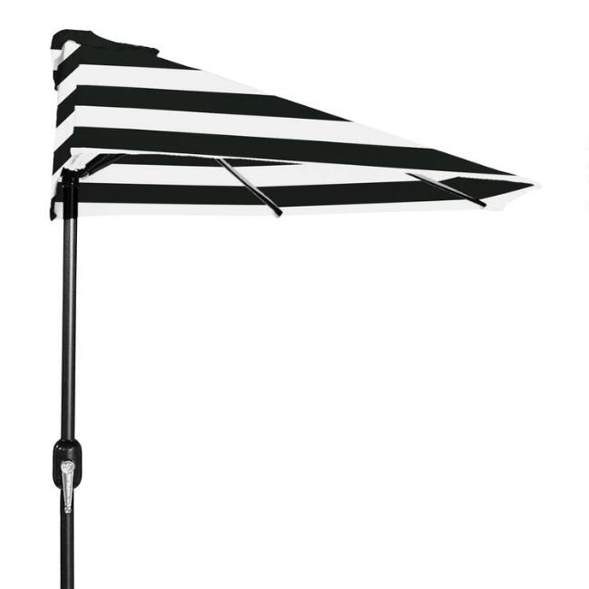 Black Stripe Outdoor Half Umbrella