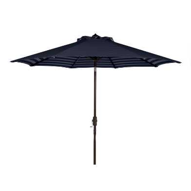 Navy and White Stripe Inside Out 9 ft Tilting Umbrella
