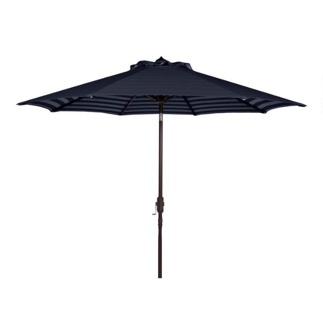 Navy Blue and White Under Stripe 9 Ft Tilting Patio Umbrella