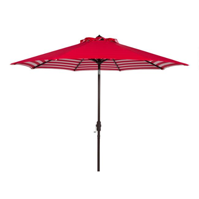 Red and White Under Stripe 9 Ft Tilting Outdoor Umbrella