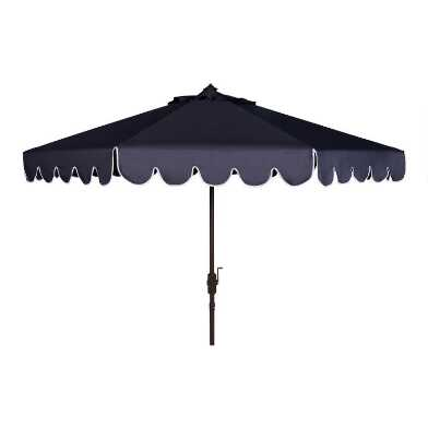 Navy and White Single Scallop 9 Ft Tilting Outdoor Umbrella
