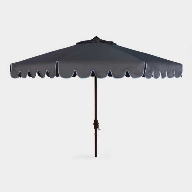 Taupe And White Single Scallop 9 Ft Tilting Outdoor Umbrella
