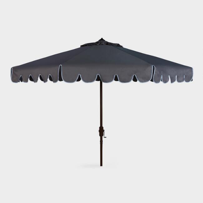 Gray and White Single Scallop 9 Ft Tilting Outdoor Umbrella
