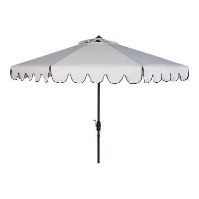 White And Black Single Scallop 9 Ft Tilting Outdoor Umbrella