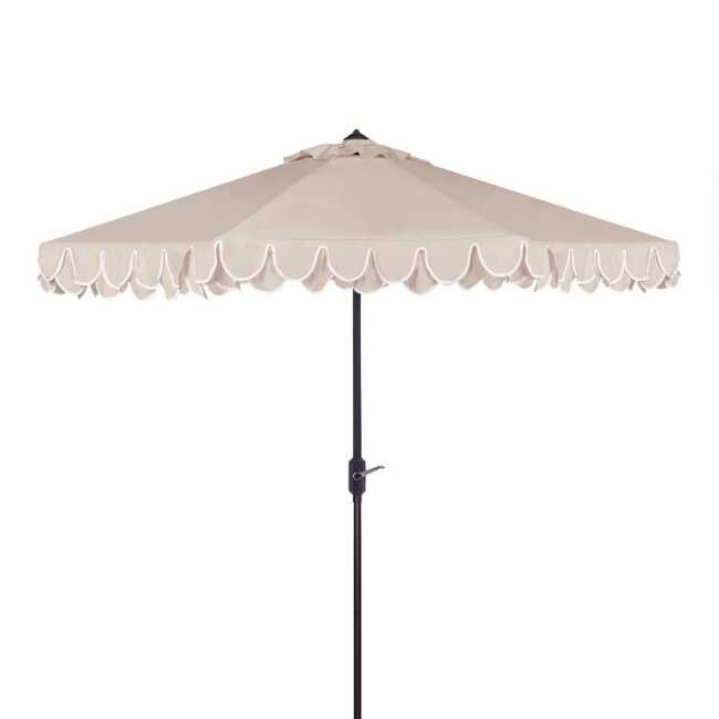 Natural Double Scallop 9 Ft Tilting Outdoor Umbrella