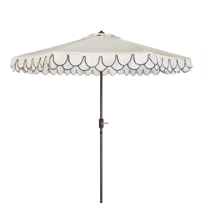 White And Black Double Scallop 9 Ft Tilting Outdoor Umbrella