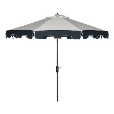 Natural & Navy Square Scalloped 9 Ft Tilting Patio Umbrella