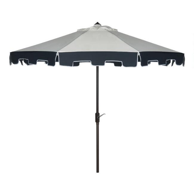 Natural and Navy Scalloped 9 ft Tilting Umbrella