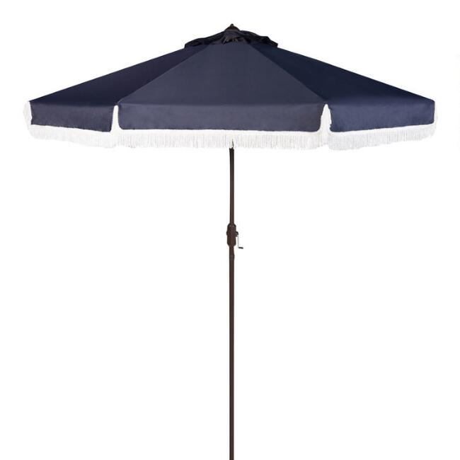 Navy And White Fringe 9 Ft Tilting Outdoor Umbrella