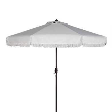 White Fringe 9 Ft Tilting Outdoor Umbrella