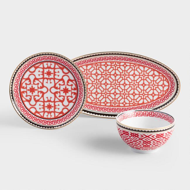 Red Lunar New Year Porcelain Beijing Dinnerware Collection