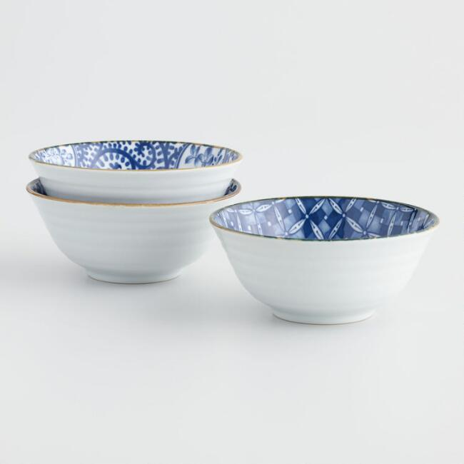 Indigo and White Porcelain Kichi Bowls Set of 3