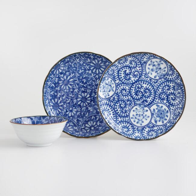 Indigo and White Porcelain Kichi Dinnerware Collection