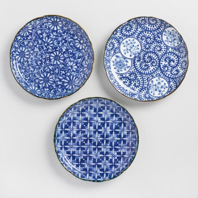 Indigo And White Porcelain Kichi Dinner Plates Set Of 3