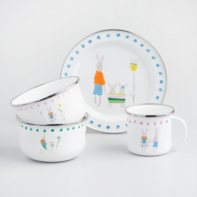 Enamel Bunny Family Dinnerware Collection