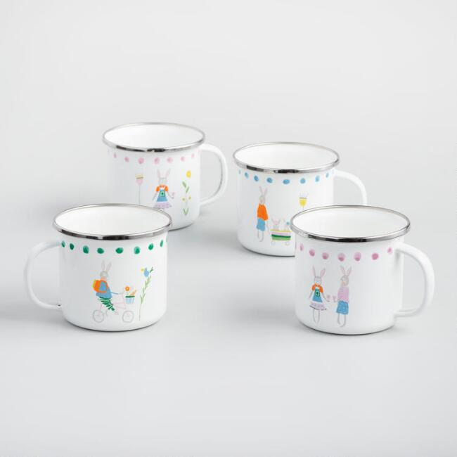 Enamel Bunny Family Mugs Set of 4