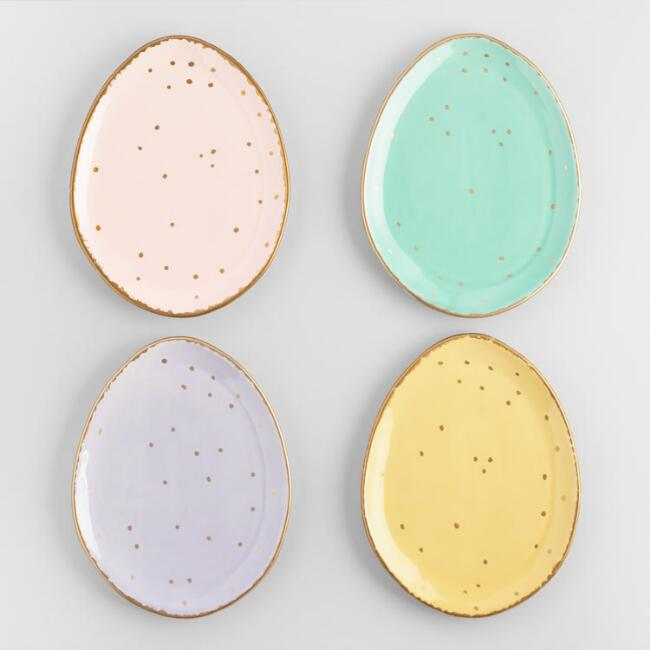Golden Speckled Egg Plates Set of 4