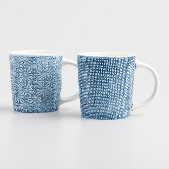 Blue And White Textured Porcelain Mugs Set Of 2