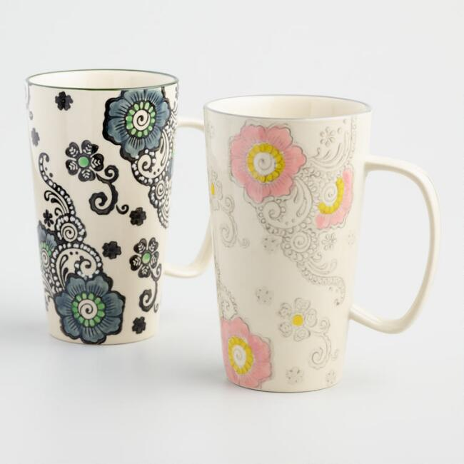 Floral Hand Painted Latte Mugs Set of 2
