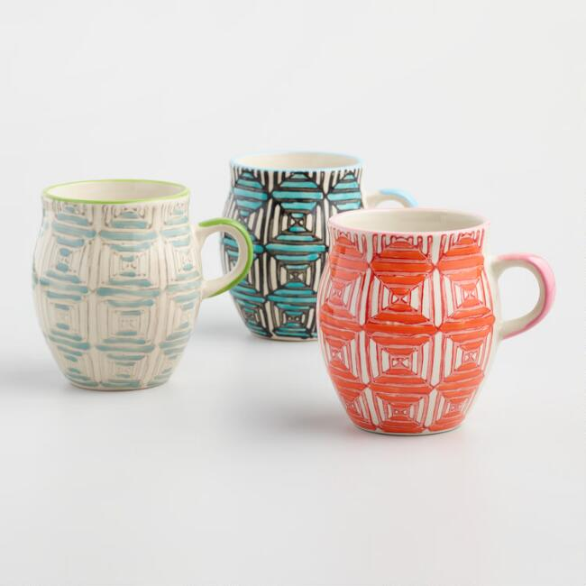 Diamond Stripe Mugs Set of 3