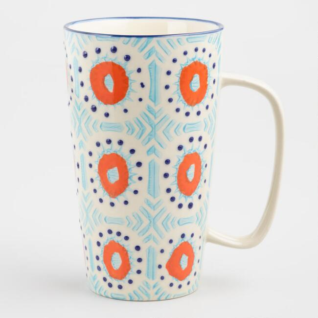 Blue and Orange Hand Painted Sunburst Latte Mug Set of 4