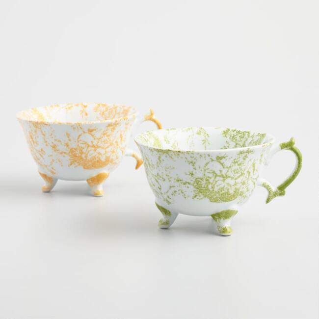 Hand Painted Toile Teacups Set of 2