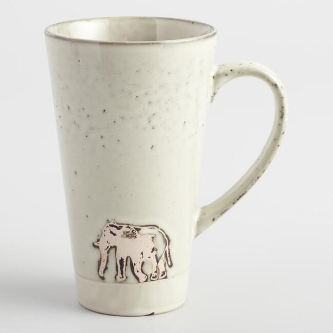 Taupe Safari Elephant Latte Mugs Set of 4