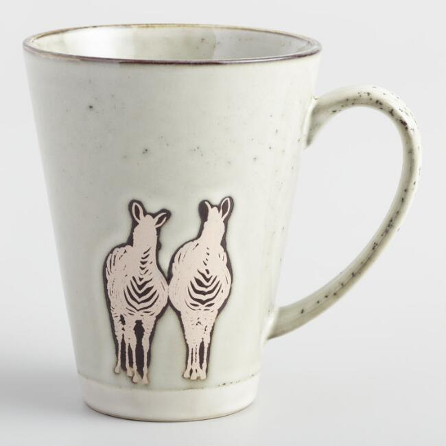Taupe Safari Zebra Latte Mugs Set of 4