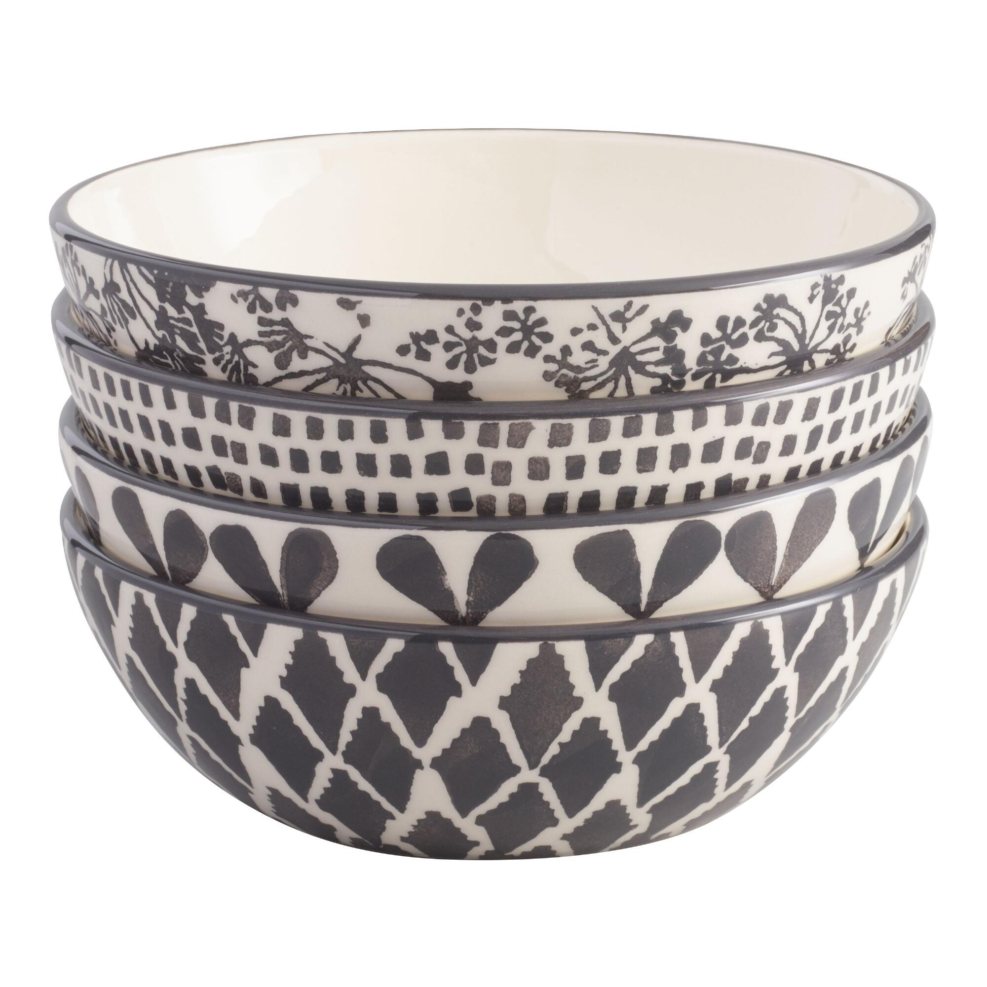 Charcoal and Ivory Alvaro Bowls Set of 4: Gray - Earthenware by World Market