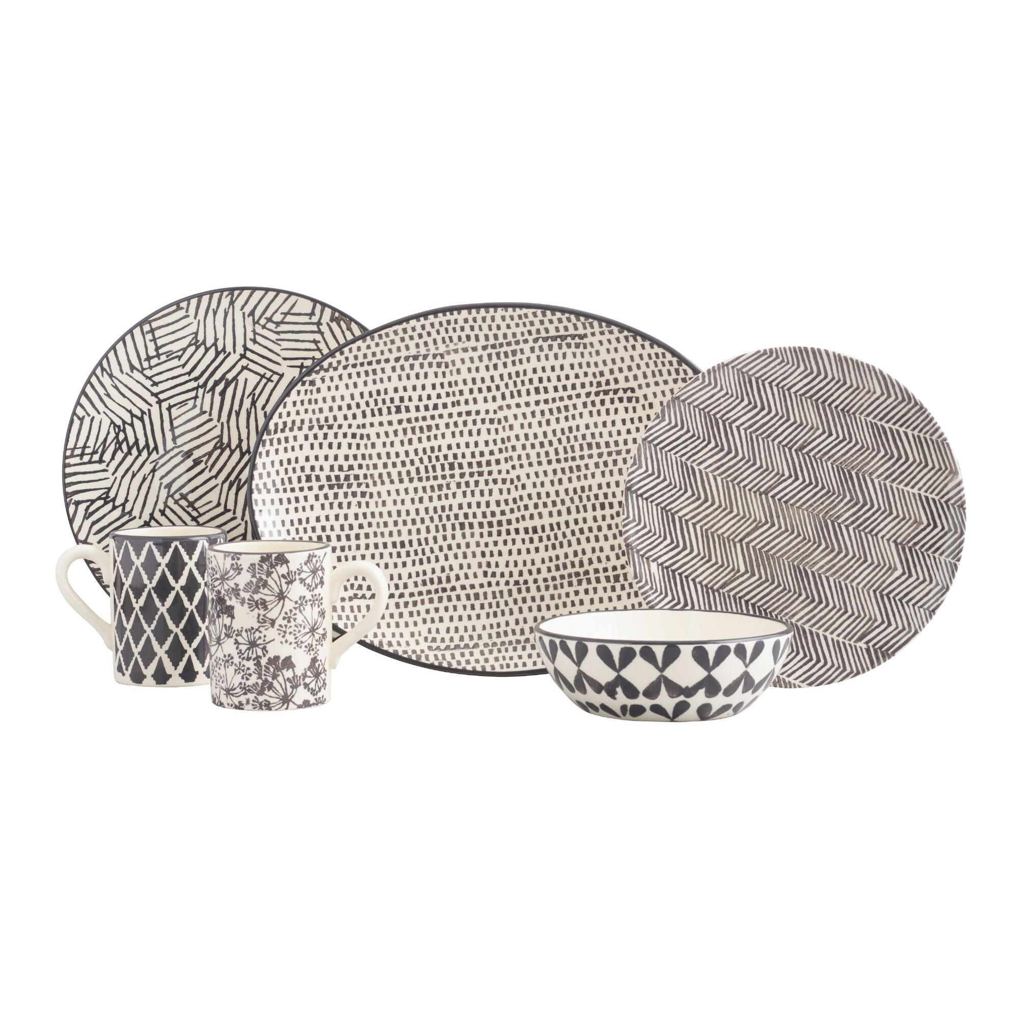 Charcoal and Ivory Alvaro Dinnerware Collection by World Market