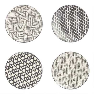 Charcoal and Ivory Alvaro Dinner Plates Set of 4
