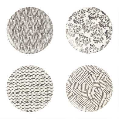 Charcoal and Ivory Alvaro Salad Plates Set of 4