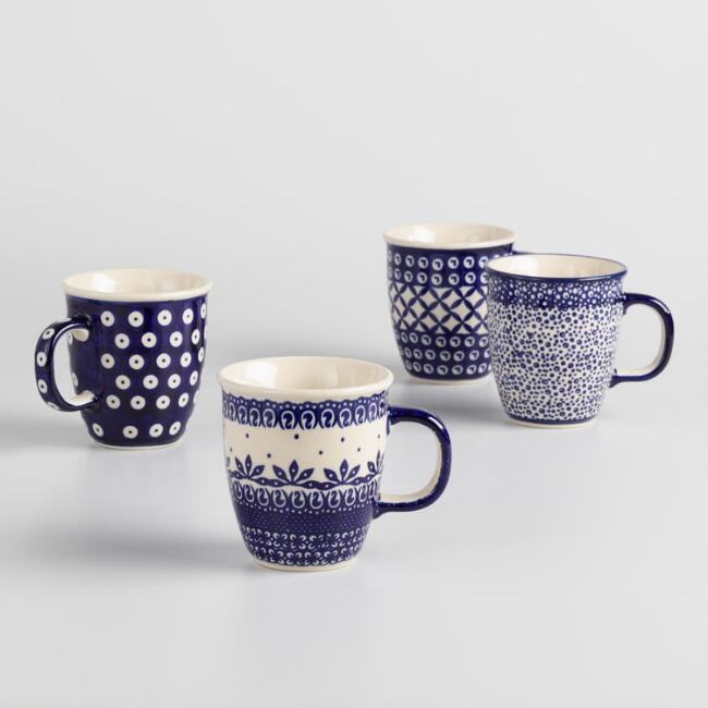 Indigo Blue Aneta Mugs Set of 4