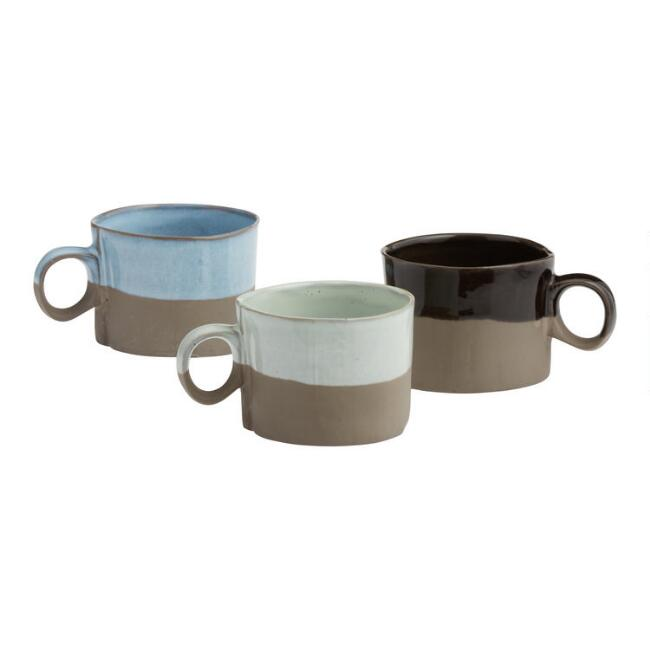 Dipped Organic Cappuccino Mugs Set of 3
