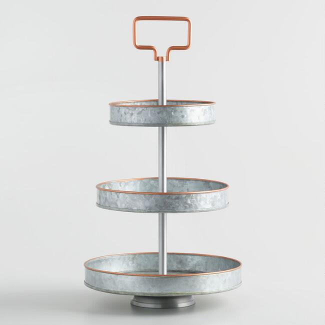 Galvanized Metal and Copper 3 Tier Stand with Handle