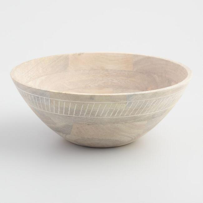 Whitewash Wood Carved Serving Bowl