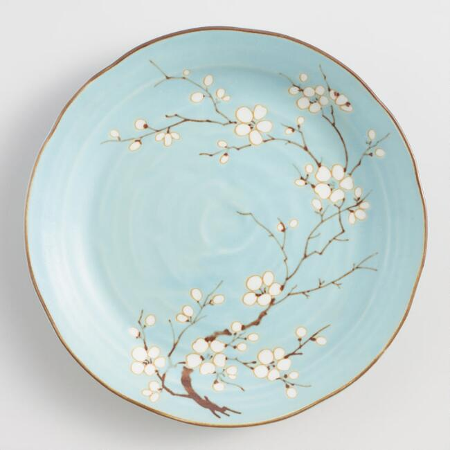 Powder Blue Porcelain Sakura Dinner Plates Set of 4