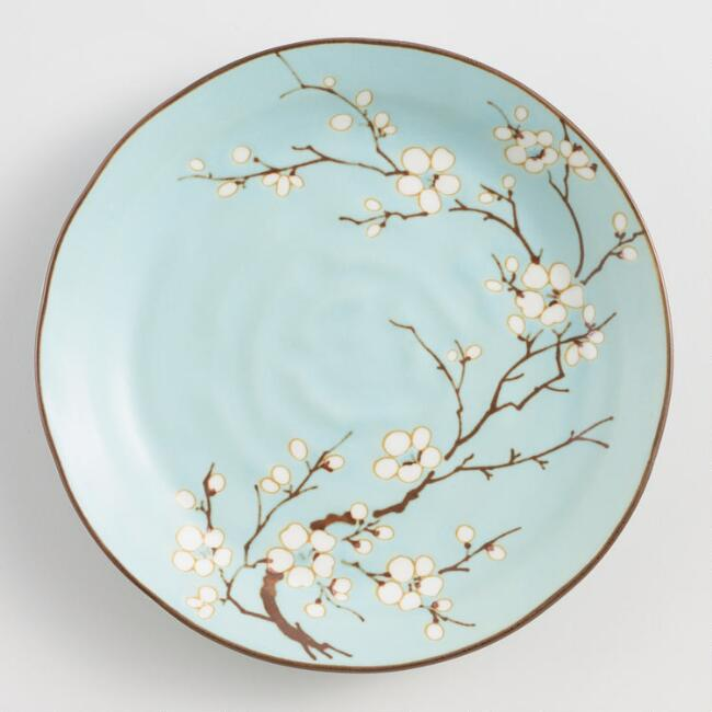 Powder Blue Porcelain Sakura Salad Plates Set of 4