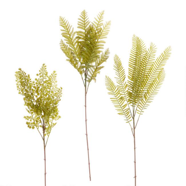 Faux Fern Plant Stems Set of 3