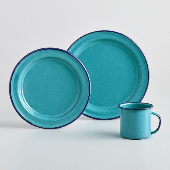 Turquoise Speckled Enamel Dinnerware Collection