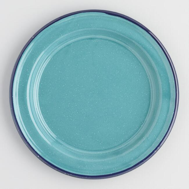 Turquoise Speckled Enamel Salad Plates Set of 4